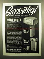 1960 Mini Metz 107 and 106 Flash Ad - Grossartig