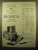 1960 Zenza Bronica Camera Ad - Ready To Spend