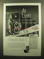 1959 Sawyer's Mark IV Camera Ad - At Last!