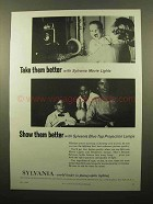 1959 Sylvania Movie Lights and Projection Lamps Ad