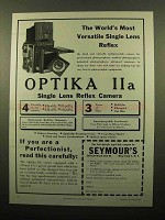1959 Optika IIa Camera Ad - The Most Versatile