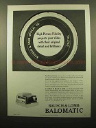 1959 Bausch & Lomb Balomatic Slide Projector Ad