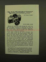 1959 Alpa Reflex Camera Ad - Swiss Watchmakers Camera