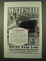1925 IMM Majestic Cruise Ad - World's Largest Ship