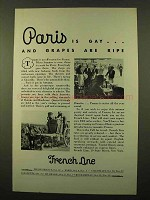 1932 French Line Cruise Ad - Is Gay And Grapes Are Ripe