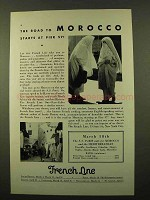 1932 French Line Cruise Ad - The Road to Morocco