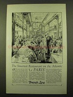 1928 French Line Cruise Ad - Smartest Restaurant
