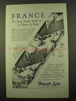 1927 French Line Cruise Ad - Sandy hook to Le Havre