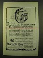 1923 French Line Cruise Ad - Old World Courtesies