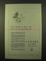 1927 Cunard Cruise Ad - See New Suites on the Aquitania