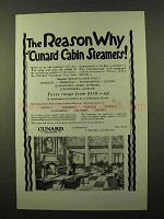 1925 Cunard Cruise Ad - The Reason Why of Steamers