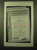 1925 Cunard Cruise Ad -- Routes & Rates to Europe