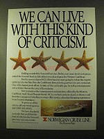 1990 Norwegian Cruise Line Ad - This Kind of Criticism