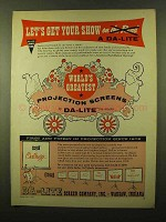 1958 Da-Lite Projection Screens Ad - Get Your Show