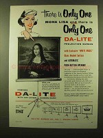 1958 Da-Lite Projection Screens Ad - Only One Mona Lisa
