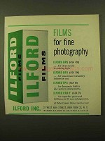 1958 Ilford Film Ad - Films For Fine Photography