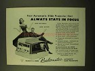 1958 Bausch & Lomb Balomatic Slide Projector Ad - Focus