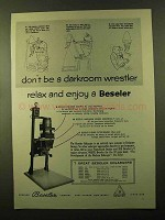 1957 Beseler Model 23C Enlarger Ad - Darkroom Wrestler