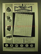 1957 Walz Coated Screw-in Filters Ad - Improve Picture