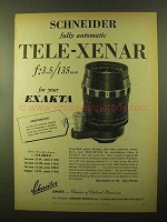 1957 Schneider Tele-Xenar Lens Ad - Fully Automatic