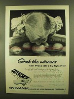 1956 Sylvania Press 25 Flashbulbs Ad - Grab the Winners