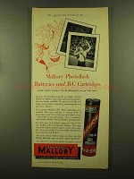 1956 Mallory Photoflash Batteries and B-C Cartridges Ad - Sure Shot
