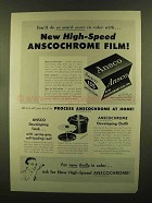 1956 Ansco Anscochrome Color Film Ad - High-Speed