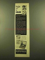 1953 Marshall's Photo-Oil Colors Ad - Plan For Color