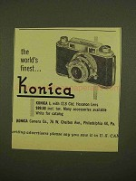 1953 Konica I Camera Ad - The World's Finest