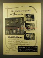 1950 Bausch & Lomb Animar Lenses Ad - 12.7mm, 14mm