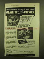 1943 American Bolex Gemlite Pocket Magazine Viewer Ad