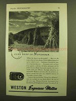 1943 Weston Exposure Meter Ad - Knee Deep in November