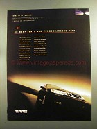 1998 Saab 9-5 Car Ad - Baby Seats and Turbochargers