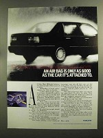 1992 Volvo Cars Ad - Air Bag Good As Car Attached To