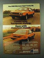 1980 Mercury Capri Turbo RS Car Ad - European Styling