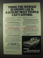 1975 Subaru GL Coupe Ad - The Average Economy Car
