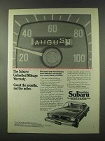 1974 Subaru Cars Ad - Unlimited Mileage Warranty