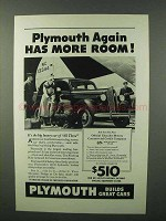 1936 Plymouth Car Ad - Again Has More Room