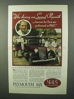 1933 Plymouth Six Car Ad - We're Driving Our Second