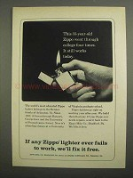 1966 Zippo Cigarette Lighter Ad - College Four Times