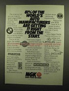 1990 NGK Spark Plugs Ad - 81% of Auto Manufacturers