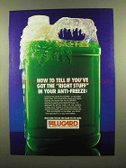 1985 Alugard Anti-Freeze Ad - You've Got Right Stuff