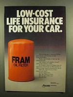 1984 Fram Oil Filter Ad - Low Cost Life Insurance