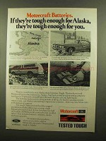 1977 Motorcraft Batteries Ad - Tough for Alaska