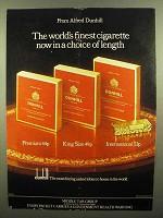 1976 Dunhill Cigarettes Ad - Now in a Choice of Length