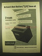 1959 Lucas S Range Batteries Ad - Britain's Best Tops