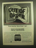 1965 SCM 44 Photocopier Ad - Throw Away Out of Order