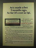 1965 Avis Rent-A-Car Ad - Made a Bet 9 Months Ago