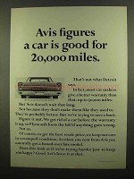 1965 Avis Rent-A-Car Ad - Figures Car Good for 20,000