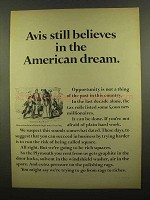 1965 Avis Rent-A-Car Ad - Believes in American Dream